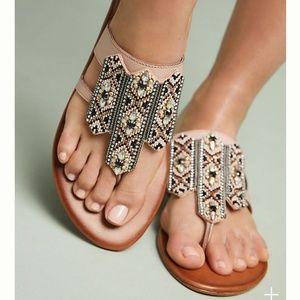 NWOB Anthropologie Embellished Thong Sandals Sz 39
